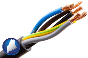 five electric wires in an electrical cable - with Maine icon